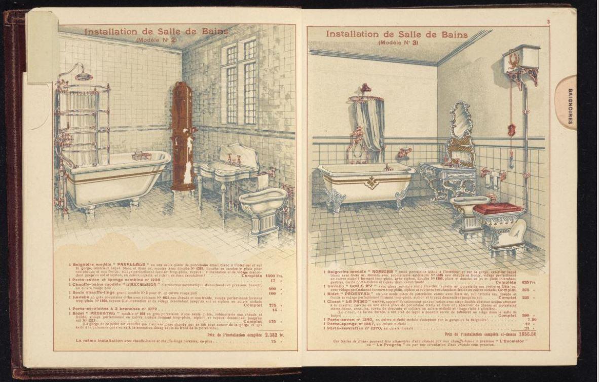 A modern bathroom in a 1905 Porcher catalogue