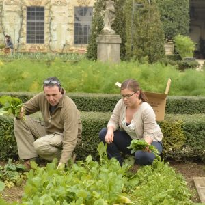 Student and instructor harvesting salads in Pomario